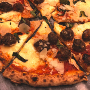 Moo-Ru Meatball Pizza